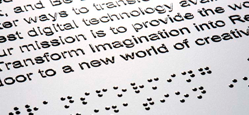 Thermography printing creates raised text for Braille or type for the blind