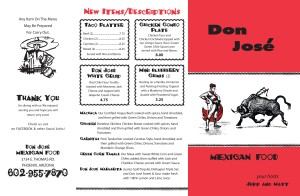 Don Jose Menu - Printed by Graphic Ideals in Phoenix, Arizona